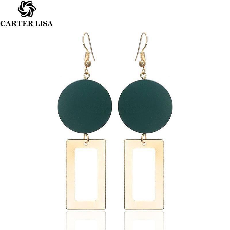 CARTER LISA Natural Wood Drop Earrings For Women Geometric Hollow Alloy Dangle Earring Ethnic Fashion  Ear Jewelry HLEZ76000