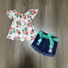 Nova chegada verão bebê meninas shorts crianças roupas barco pescoço boutique coral hortelã topo floral azul denims jeans shorts