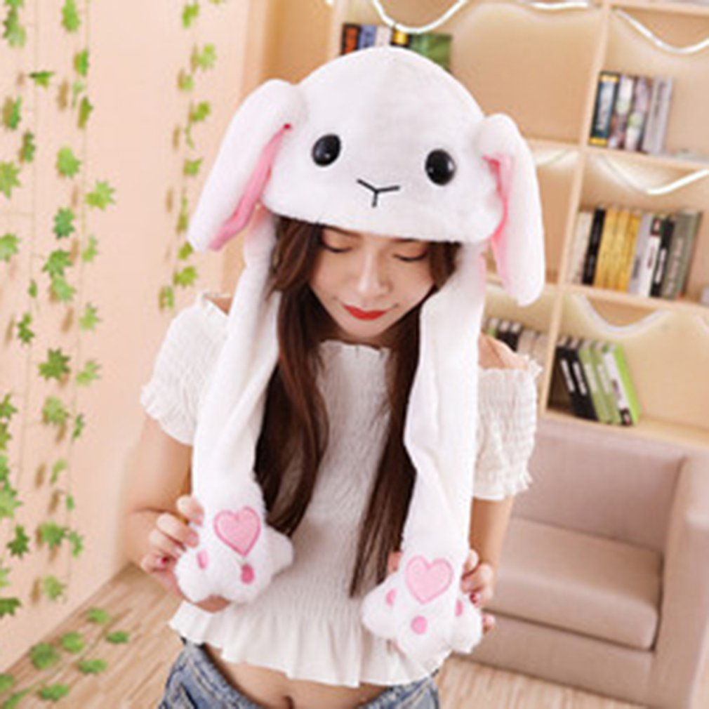 Toy Hat Pinch Long Ears Moving Hat Plush Rabbit Ears Hat Funny Hat Airbag Cap 2019 Funny Caps