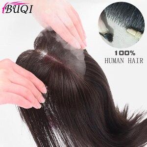 Image 1 - BUQI extensions capillaires naturels lisses pour femmes, bloc Invisible à remplacer, à couleur noire et brune, pour moins de cheveux