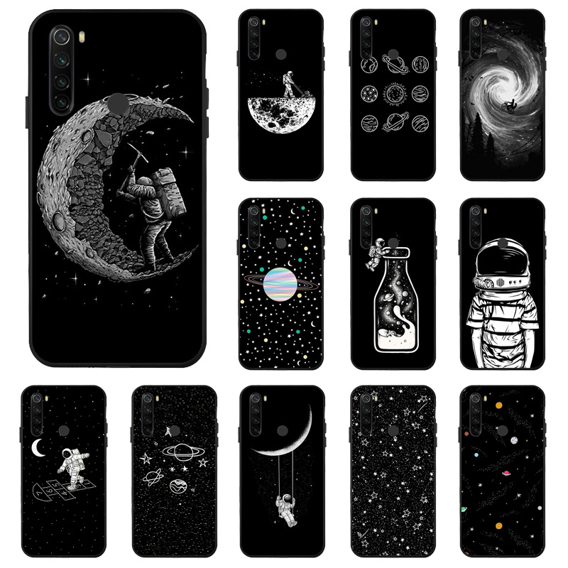 Case for Xiaomi Redmi Note 8 7 9 Pro 8T 9S 9A Case Space Moon Soft Black Painted Phone Cover For Xiaomi Mi 9T A3 Redmi 9 Cases(China)