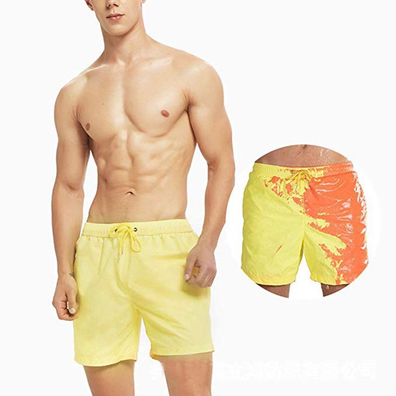 Hot Selling Color Changing Three-Color Temperature Detector Shorts Beach Shorts Men's Water Color Changing Large Size Swimming T