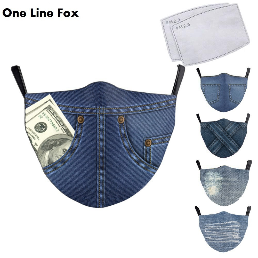 OneLineFox Adult Denim 3D Reusable Mouth Mask Washable Protective PM2.5 Anti-dust Windproof Mouth-muffle Bacteria Proof Mask