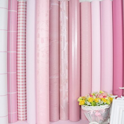 PVC Waterproof Self Adhesive Wallpaper Pink Children Adhesive Paper College Student Dormitory Bedroom Warm Self-adhesive Wallpap