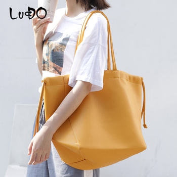 LUCDO large capacity Tote Bags 2020 summer NEW Big Shopping Bag fashion Simple Soft Pu Leather Shoulder Messenger Bags