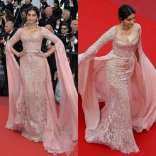 2019 Elie Saab ilusión vestidos de noche rosa con apliques formales vestidos de fiesta con cremallera en la espalda alfombra roja vestido de celebridad