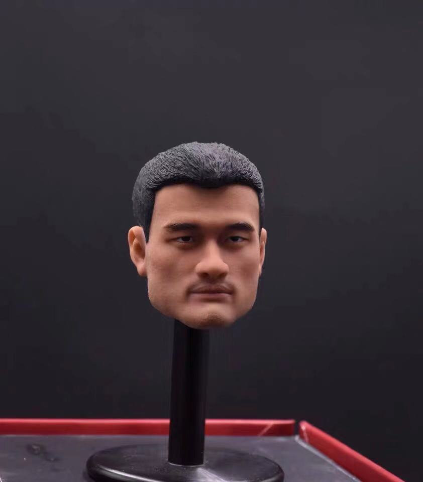 """1//6th Basketball Superstar Yao Ming Head Carving Model for 12/"""" Action Doll Toys"""