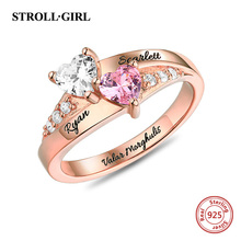 Strollgirl Authentic 925 Sterling Silver Engraved Double Heart Birthstone Ring For Women Sterling Silver Jewelry New Arrival rhinestone sterling silver engraved leaf ring