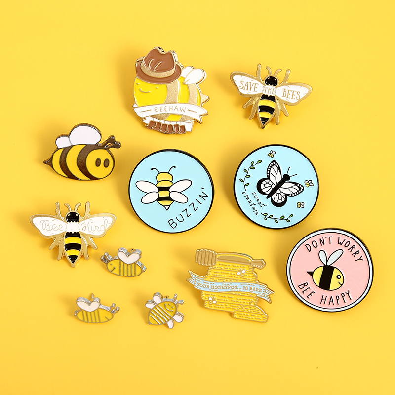 Niestandardowy zestaw pszczół homofoniczny bądź miły zapisz pszczoła emalia Pin broszka torba ubrania przypinka różowa niebieska okrągła przypinka miód biżuteria z motywem pszczół prezent