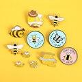 На Заказ пчелиный набор гомофонический Be Kind Save Bee эмалированная булавка-брошь сумка для одежды отворот булавка розовый синий круглый значок...