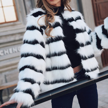 2019 Fashion Faux Fur Coat Winter Women White Fleece Fox Fur Jacket Sexy Streetwear Warmness XXL Plus Size Coats Stripe Overcoat plus size stripe faux twinset dress
