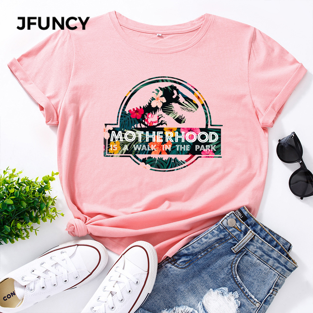JFUNCY Casual Cotton T-shirt Women T Shirt Motherhood Letter Printed Oversized Woman Harajuku Graphic Tees Tops 3
