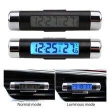 1 adet araba dijital saat ve sıcaklık göstergesi elektronik saat termometre otomatik elektronik saat LED aydınlatmalı dijital ekran