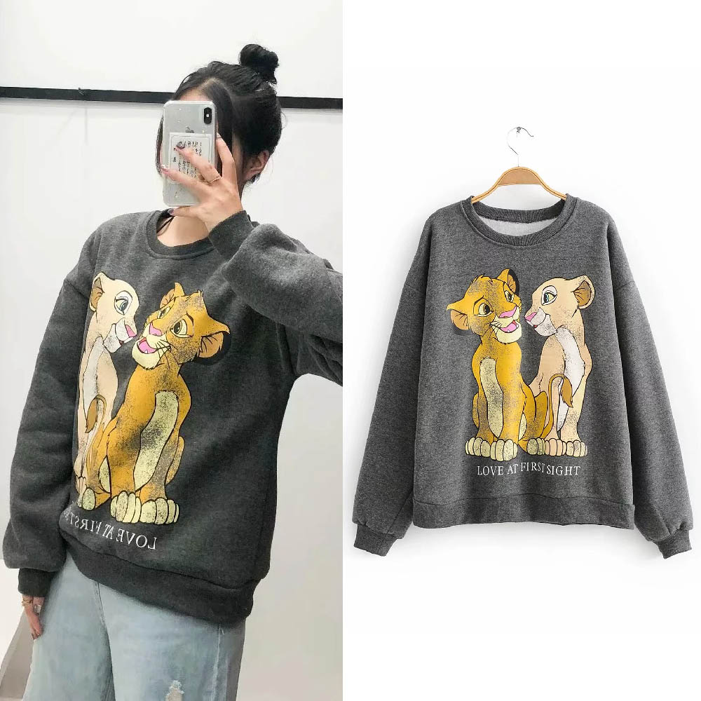 Women Clothing The Lion King Warm Fur Lining Cartoon Printing Top Coat 2019 Autumn Winter Jumper Pullover Streetwear Sweatshirt