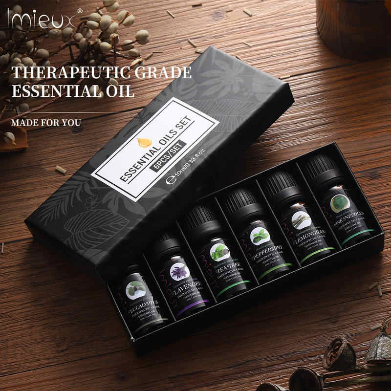 IMIEUX 10ml 6pcs/kit Gift Set Pure Essential Oils for Aroma Diffusers  Orange Lavender Tea Tree Peppermint Eucalyptus Lemongrass| | - AliExpress
