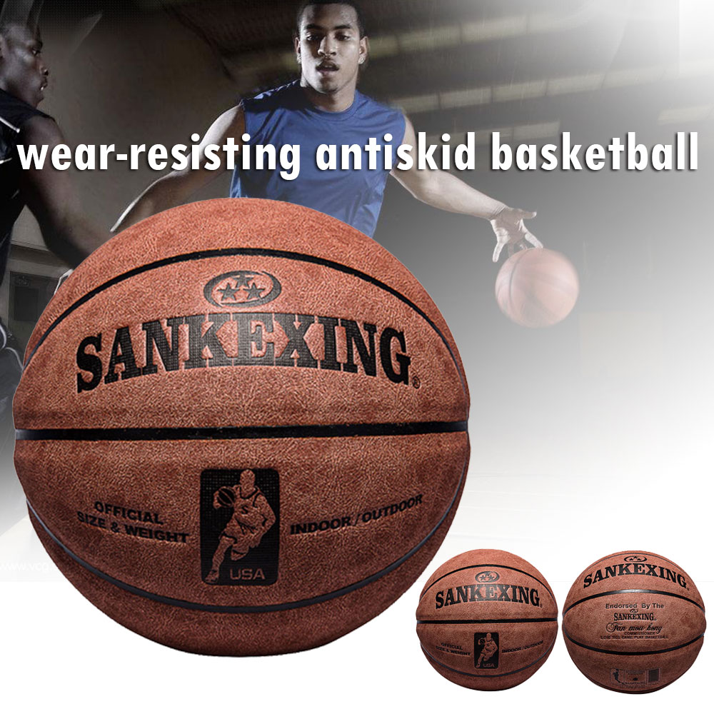 Basketball Leather Ball Textured Cowhide Gift Boys New Sport Supplies Balls NBA Varsity Team for SANKWXING Wear-Resistant image