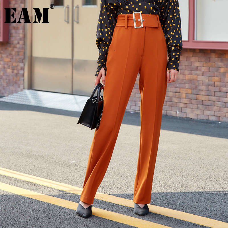 [EAM] High Waist Temperament Belt Long Trousers New Loose Fit Wide Leg Pants Women Fashion Tide Spring Autumn 2019 1B149