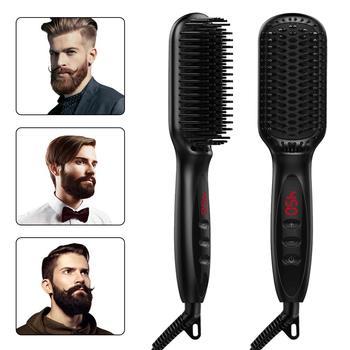 Выпрямитель для бороды с ЖК-дисплеем, расческа для выпрямления волос для мужчин и женщин, выпрямитель для волос, щетка для бороды, стайлер дл...