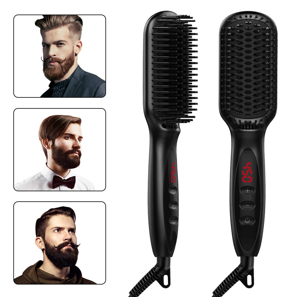 Beard Straightener Hot Comb LCD Display Hair Straightening Irons Comb Men/Women Hair Straightener Brush Beard Hair Styler Tools