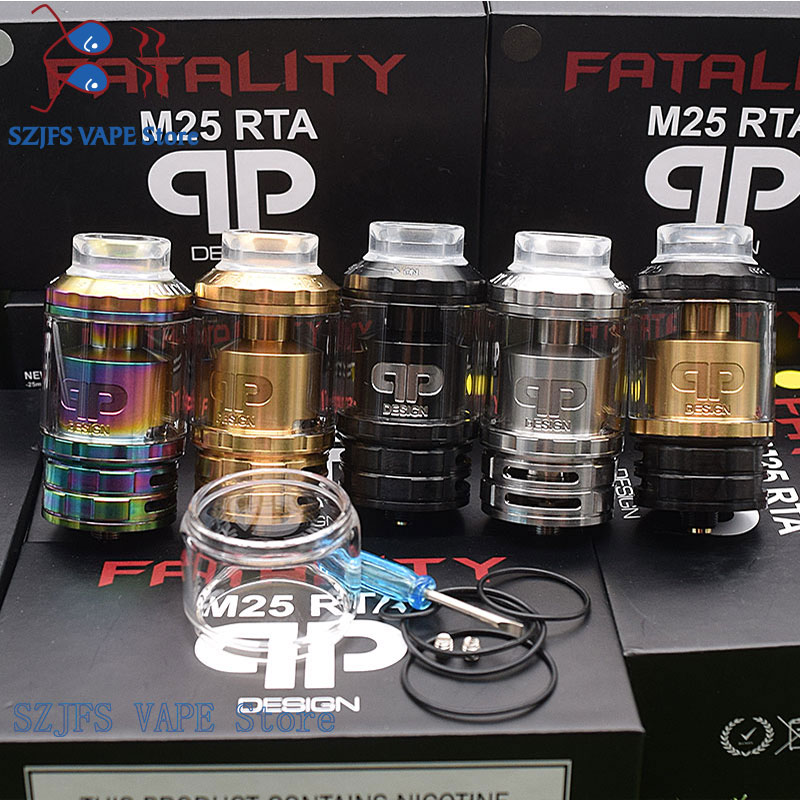 QP Design Fatality M25 RTA Rebuildable Atomizers 316ss 510 Threads 25mm Diameter  Multiple Coil Configuration Vs Kylin V2  Zeus