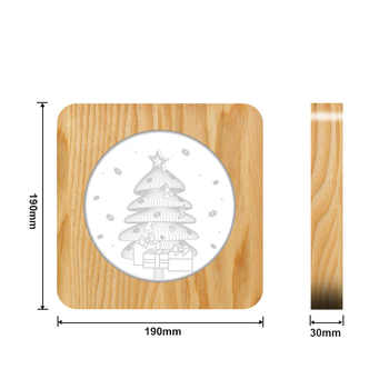 3D Wooden Christmas tree Footprints Shadow LED Lamp Wood USB Desk Night Light Christianity Crucifix Crafts Table Lamp Decoration