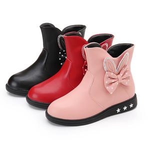 Image 5 - Childrens Shoes Girls Boots Autumn and Winter 2019 New Princess Boots Bow Plus Velvet Warm Cotton Kids Snow Boots Girls Shoes