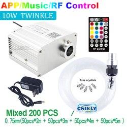 Nowa lampa światłowodowa APP Bluetooth zestawy 10W RGBW Twinkle Star oświetlenie sufitowe sterowanie muzyką mieszany kabel światłowodowy