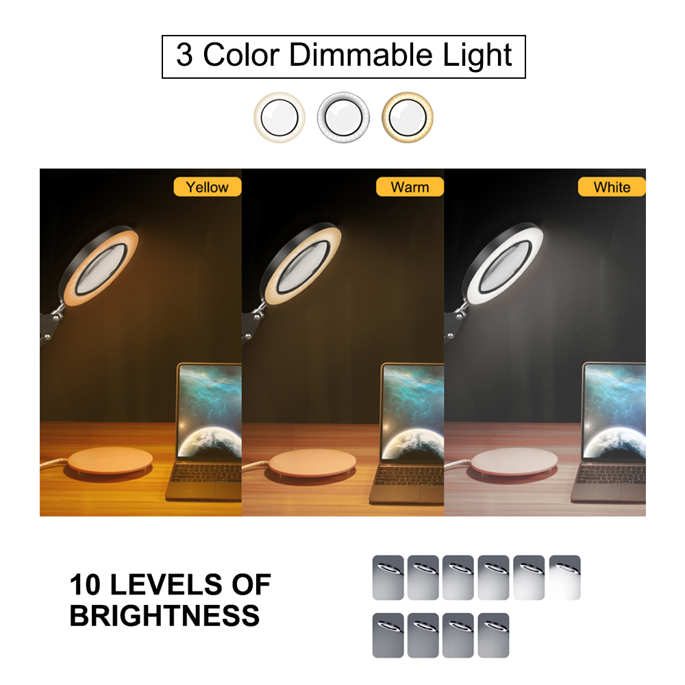 Illuminated Foldable Art Magnifier Desk NEWACALOX USB Magnifying 5X Lamp Study Nail 64 Glass LED Repairing Colors Working For 3