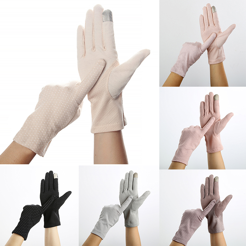 Touch Screen Gloves For Women Autumn Full Finger Pink Sunscreen Glove Anti-UV Slip Resistant Driving Gloves Hand Protective