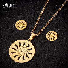SMJEL Islam Muslim Allah Religious Pendant Necklaces for Men Women Swirl Coin Gold Sun Flower Earings Woman Kid Jewelry Set Gift