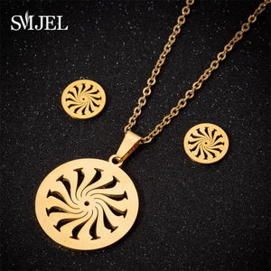 Image 1 - SMJEL Islam Muslim Allah Religious Pendant Necklaces for Men Women Swirl Coin Gold Sun Flower Earings Woman Kid Jewelry Set Gift