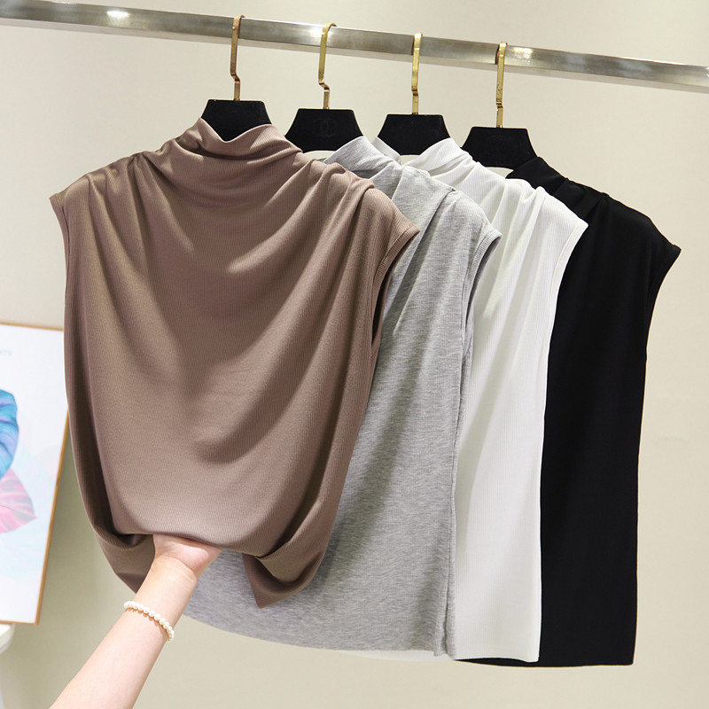 [EAM] Women 8 Colors Brief Pleated Khaki Pleated T-shirt New Turtleneck Sleeveless  Fashion Tide  Spring Summer 2020 1X854 3