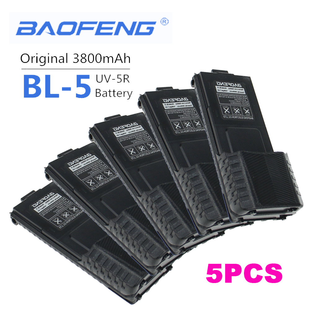 5PCS New 100% Original Baofeng  BL-5 3800 MAh Walkie Talkie Enlarge 7.4V Rechargeable Li-on Battery For Baofeng UV 5R UV5R UV-5R