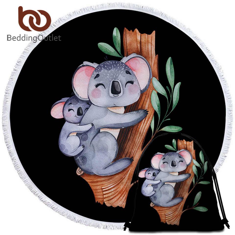 BeddingOutlet Koala Famiglia Rotonda Asciugamano Telo Mare Del Fumetto Albero di Eucalipto Foglia Estate Coperta Acquerello Arazzo Animale Toalla