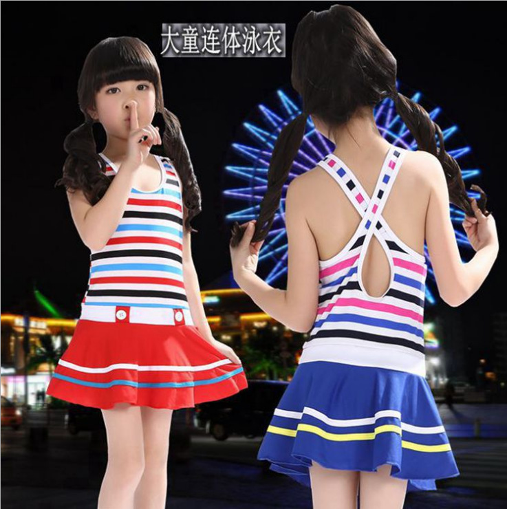 Wish KID'S Swimwear GIRL'S Big Boy One-piece Navy Stripes Swimwear Cute South Korea Girls Swimwear