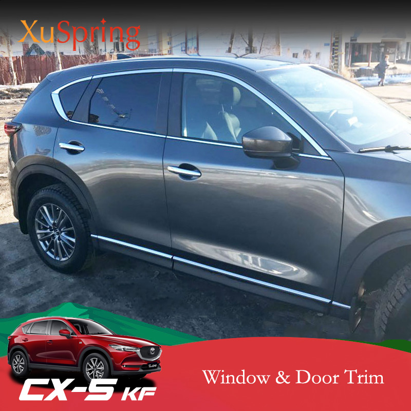 Car Windows Trim Chrome Strips Outer Decorative Garnish Cover Refit For <font><b>Mazda</b></font> CX-5 <font><b>CX5</b></font> 2017 2018 <font><b>2019</b></font> KF Car <font><b>accessories</b></font> styling image