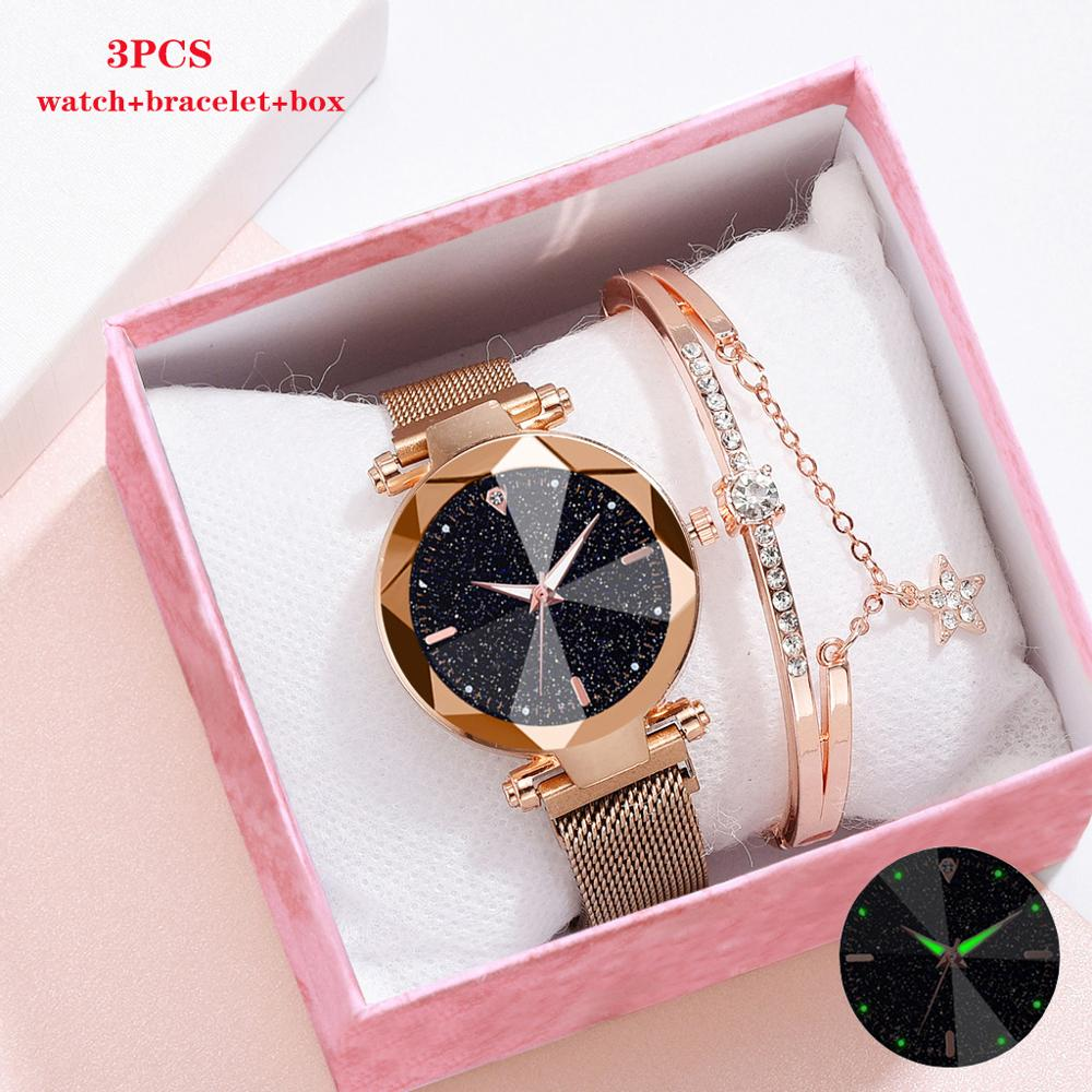 New Women Watches Bracelet Set Starry Sky Luminous Watch Fashion Ladies Bracelet Watch Quartz Wristwatches Relogio Feminino