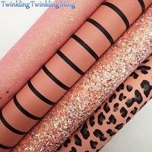 A tela cor-de-rosa do brilho da poeira, leopardo imprimiu a tela do falso, listra folhas de couro da tela para a curva a4 21x29cm cintilando ming xm981