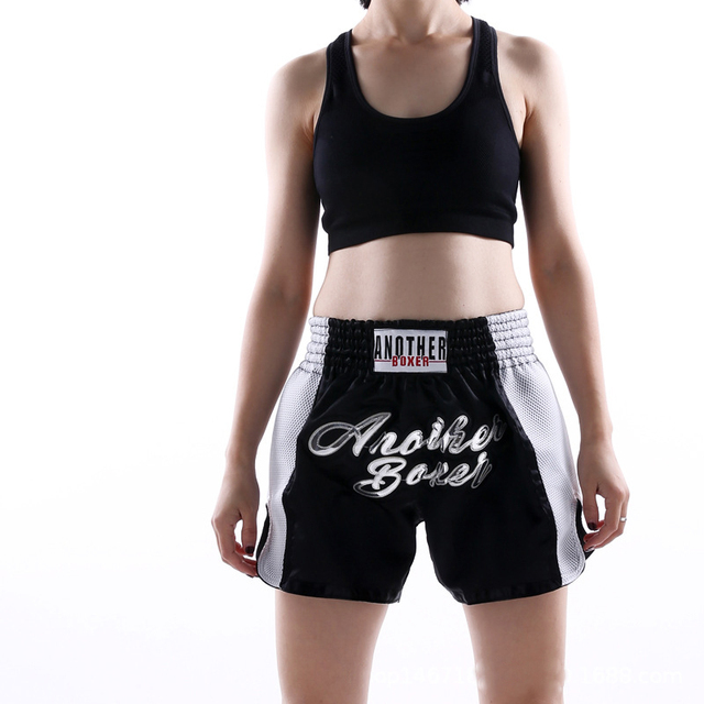 2021 Wholesale Embroidered Letter Contrast Color Splice Sports Women Muay Thai Shorts Custom Boxing Shorts Wholesale 3