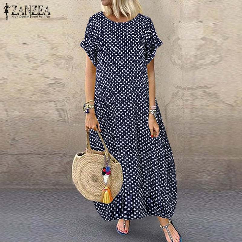 2020 ZANZEA Summer Polka Dot Printed Sundress Women Short Sleeve Baggy Beach Long Dress Robe Femme Party Vestido Kaftan Dresses