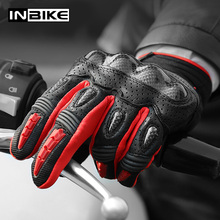 INBIKE PU Motorcycle Gloves Carbon Fiber Winter Thermal Gloves Wear Resistant Racing Gloves Protective Gear MTB Motorbike Gloves
