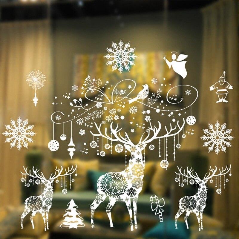 Pegatinas de Navidad de ventana adornos navideños para el hogar adornos navideños decoración de fiesta de Navidad Feliz Año Nuevo 2020 2021