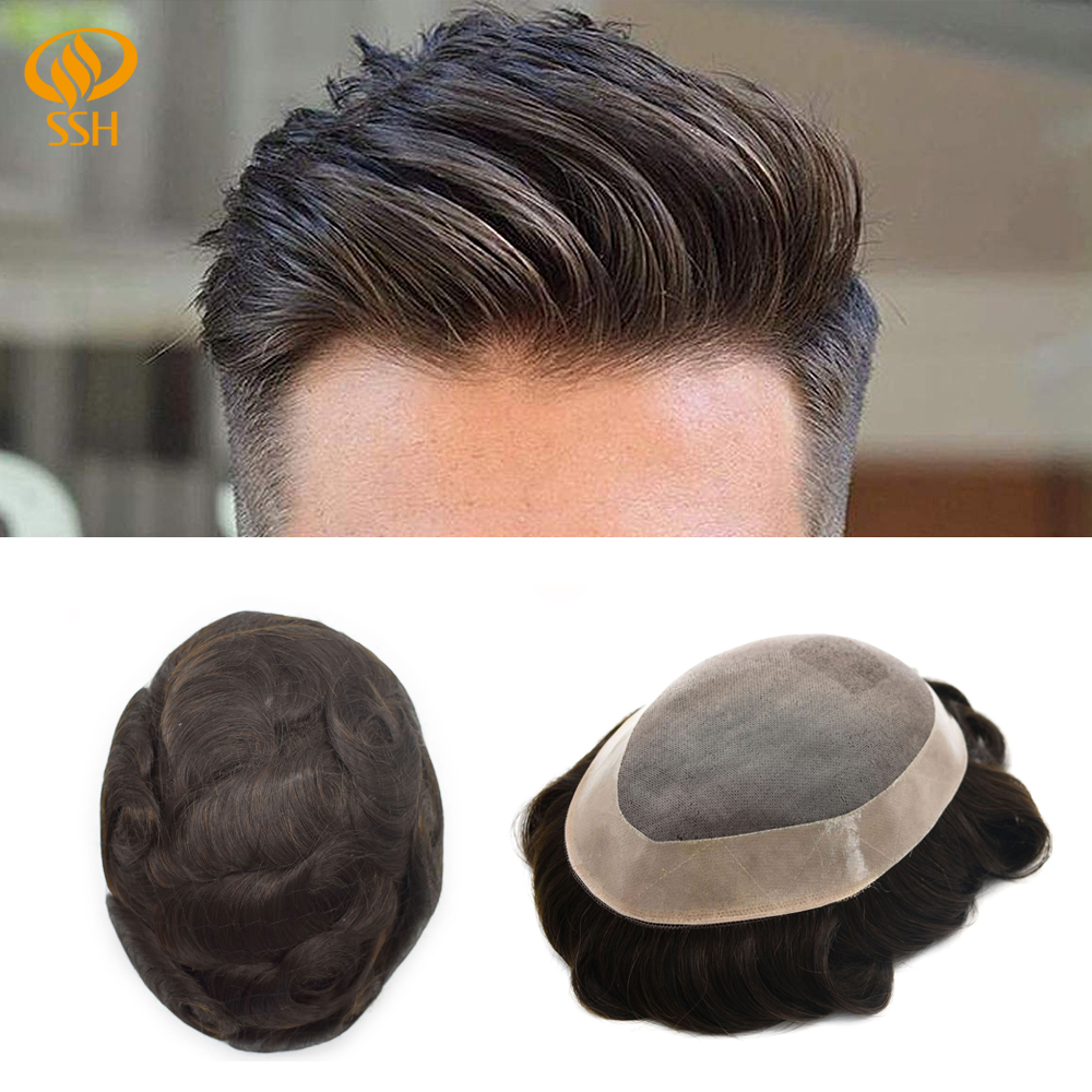 SSH Remy Hair Mono Lace Frontal Men Hair Replacement Breathable Toupee Mens Male Wig