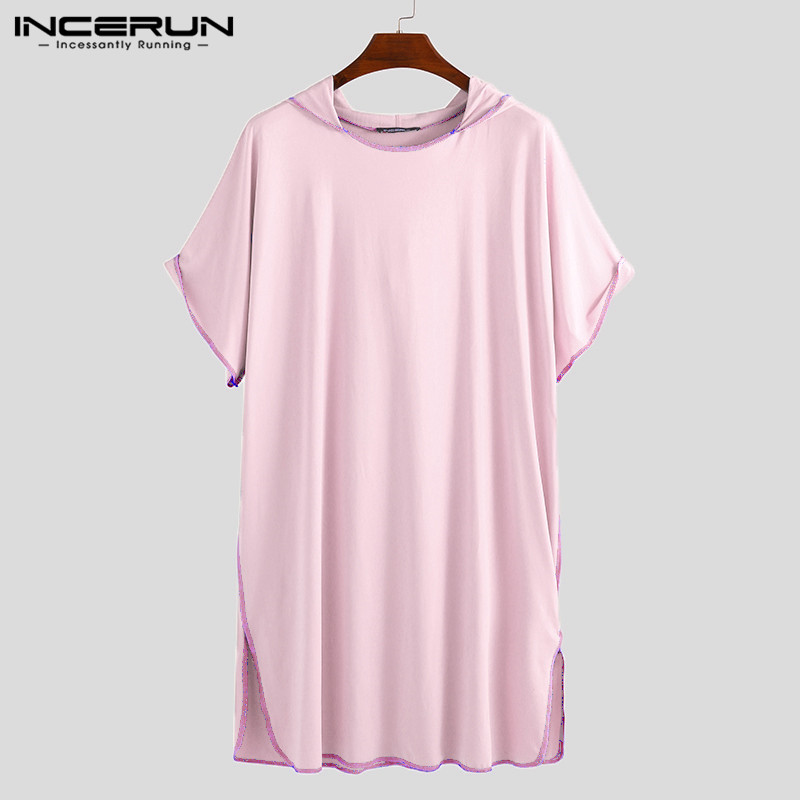 INCERUN 2019 Men Bathrobes Hooded Solid Color Vacation Pullovers Quick Dry Short Sleeve Robes Women Men Beach Bathrobes S-5XL