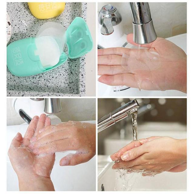 20PCS Travel Soap Paper Washing Hand Bath Clean Scented Slice Sheets 20pcs Disposable Boxe Soap Portable Mini Paper Soap TSLM1 4