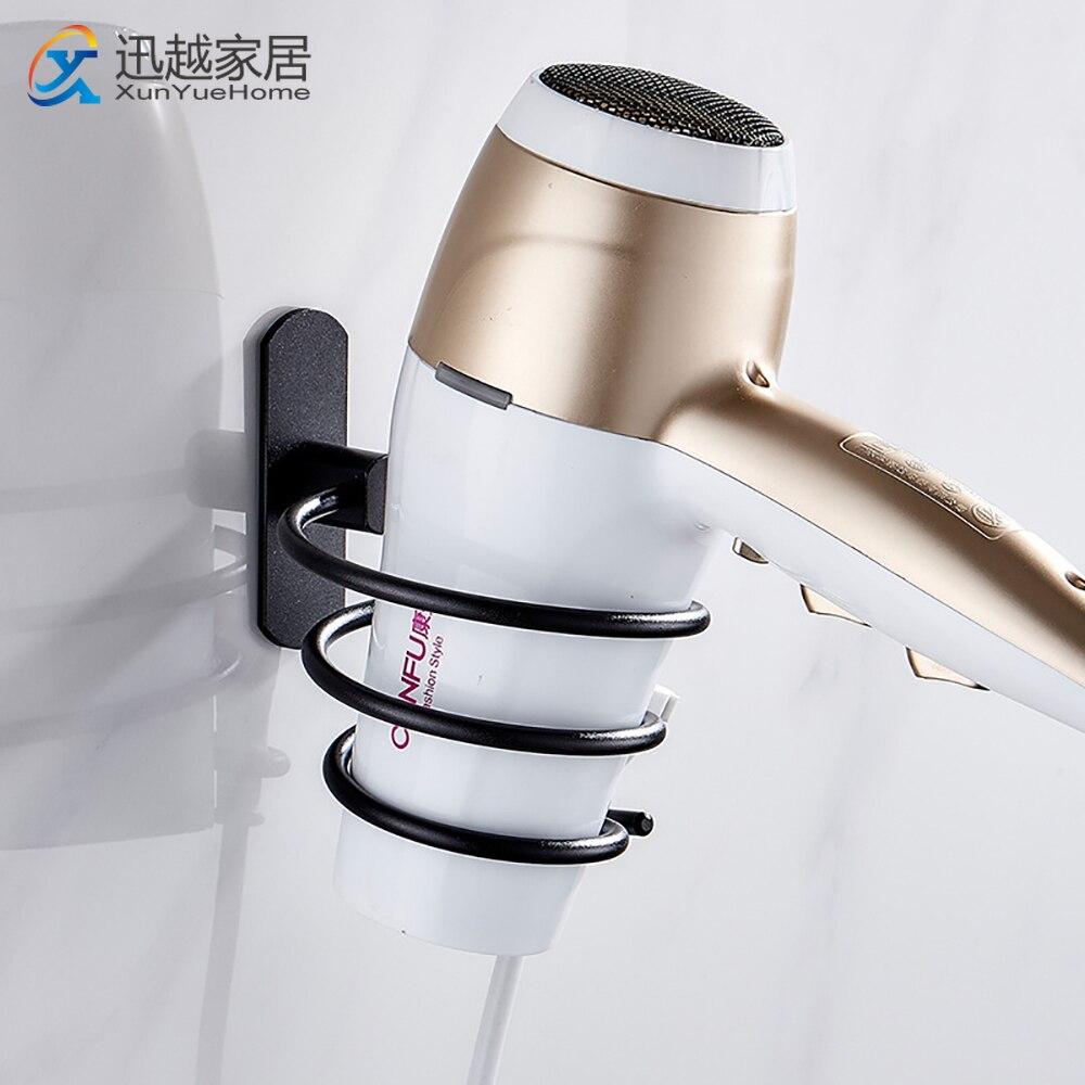 Punch-Free Hair Dryer Holder Stand Black Aluminum Shelves Wall Storage Rack Bathroom Bracket No Drill Organizer Accessories