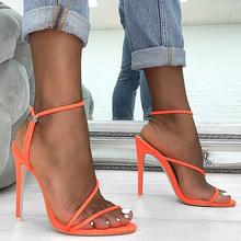 Kobiety buty ekstremalne wysokie obcasy damskie czółenka damskie buty damskie sandały na obcasie buty ślubne damskie sandały sandały damskie szpilki tanie tanio LAKESHI Cienkie obcasy Mikrofibra Super Wysokiej (8cm-up) Gladiator Ślub Pasuje prawda na wymiar weź swój normalny rozmiar