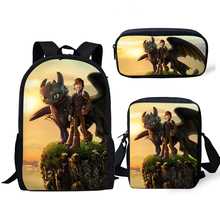 HaoYun 3PCs/Set Children's Backpack How to Train Your Dragon Pattern Kids School Bags Cartoon Students Book-Bag Mochila Rucksack how to train your dragon school bag noctilucous backpack student school bag notebook backpack daily backpack