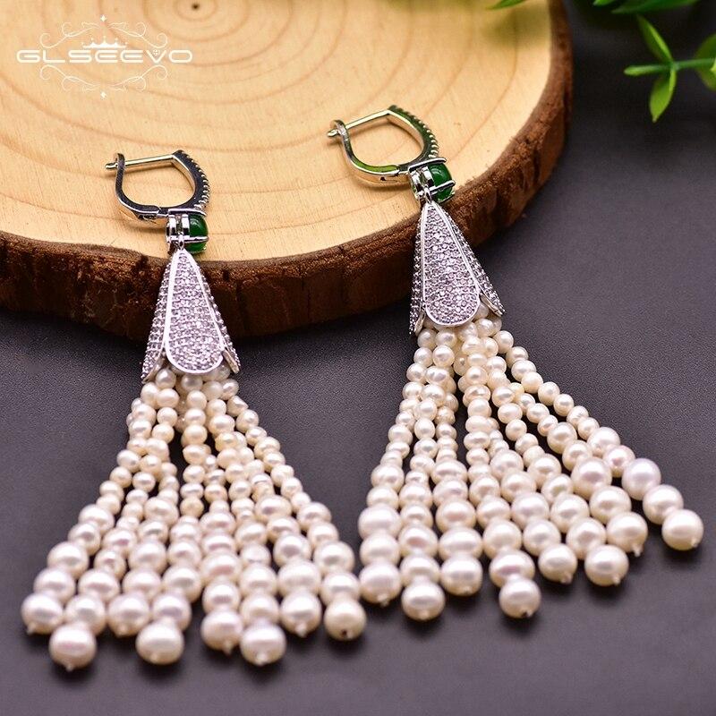 GLSEEVO Designer Natural Fresh Water Pearl Tassel Earrings For Women Wedding Girls Boho Luxury Jewrlry For Best Friends GE0924