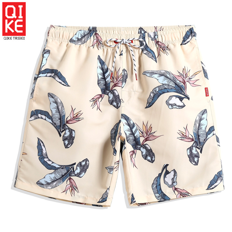 2019 Summer Men's Swimming trunks   Board     shorts   Floral Light yellow Swimsuit Quick dry briefs sexy Bathing suit Swimwear mesh